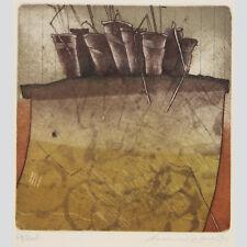 Reinhard Zado: Blumenbank. Farbradierung um 1980.