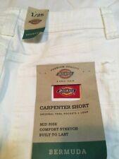 Dickies White Bermuda Mid Rise Carpenter Cotton Shorts Size 1/25 NWT