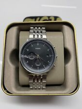 FOSSIL CHASE TIMER Chronograph Watch FS5489 Mens Silver Stainless Steel NWT