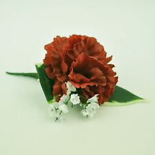 ARTIFICIAL SILK FLOWERS SINGLE CARNATION BUTTONHOLE RUST
