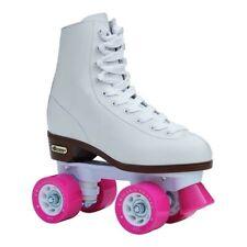 Chicago Rink Roller Skates, Quad Skates, Size 9 (Women's 10), White with Pink