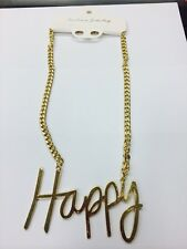 Fashion Gold METAL Hip Hop HAPPY Chain Necklace