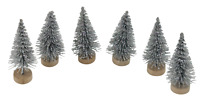 6 Fir Trees Christmas Cake Decorations yule log cupcake toppers SILVER GLITTER