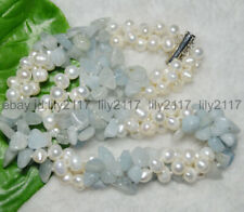 3 Rows Real Natural White Pearl Blue Aquamarine Gems Jewelry Necklaces 18-24""