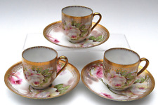 GORGEOUS 6 PC HAND PAINTED ROYAL O & EG AUSTRIA DEMI CUPS & SAUCERS w SINGED