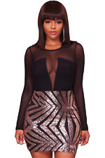 Sexy Black Sheer Mesh Long Sleeve Champagne sequinned party mini Dress