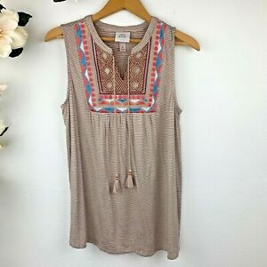 Knox Rose Women's Boho Embroidered Tassels Sleeveless Top Size M Beige