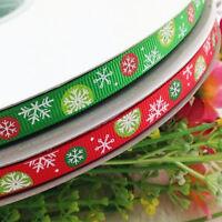 "3/8"" grosgrain ribbon Merry Christmas snowflake Wedding Craft Appliques 5Y"