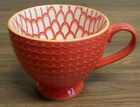 Pfaltzgraff Red  Scallopped Design Oversized Coffee Tea Hot Cocoa Mug Cup