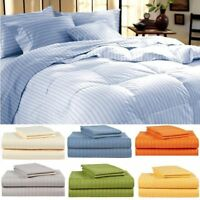 1800 Series Hotel Edition Egyptian Bed Sheet Set - Striped, 4 Piece - 11 Colors!