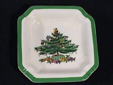 VINTAGE SPODE CHRISTMAS TREE ENGLAND SMALL COASTER DISH TEABAG HOLDER PLATE