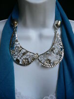 NEW WOMEN ROYAL BLUE FASHION SCARF NECKLACE SILVER METAL FLOWERS COLLAR PENDANT