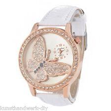 Damen Armbanduhr Quarzuhr Analoguhr Strass Watch Lederband Weiß Schmetterling FL