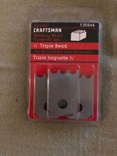 "Sears Craftsman Molding Head Cutter Bit Set 1/4"" Triple Bead 3 Piece"