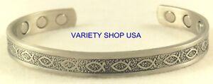 'Jesus Fish' Pure Copper Religious Silver Magnetic Therapy Cuff Bracelet CM48S