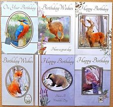 6 Pack of Country Wildlife Animal Birthday Cards Male Female Birthday Cards /WA2