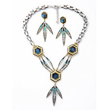 Nicandra Drop Necklace With Matching Earrings Blue Crystals Brand Jewelry Sets
