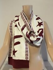 ABERCROMBIE & FITCH - HOLLISTER SCARF Womens Large Burgundy Ivory Logo Knit NEW