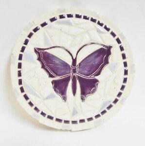 """Butterfly Mosaic Art, Handmade Ceramic Mosaic Tile Wall Art, Purple Trivet, 7"""""""