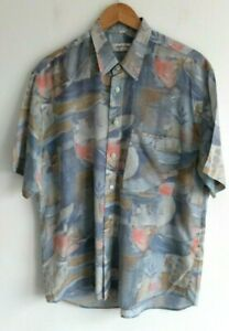 Vintage 80s 90s crazy abstract pattern s/sleeve shirt Angelo Litricio | M | Grey