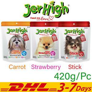 JerHigh Carrot Strawberry Stick Chicken Meat Dog Pet Food Chew Treats 420 g
