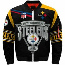 Men's Pittsburgh Steelers Jacket MA1 Flight Bomber Thicken Coat Football Outwear