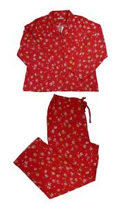 Cath Kidston Wimbourne Rose Brushed Cotton Long Pyjama Set Red Colour