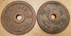 Vtg rare Weider Barbell Standard Size Weights 7.5lb Plates total blank B side