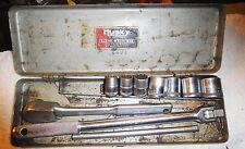 "Vintage rare Husky New Britain CT 3/8"" inch socket set,n box,ratchet,breaker bar"