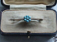 ANTIQUE VINTAGE VICTORIAN EDWARDIAN TURQUOISE FLOWER SWEETHEART BROOCH PIN