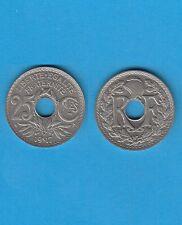 Troisième République 25 Centimes Nickel 1917 Cmes Souligné Année Rare