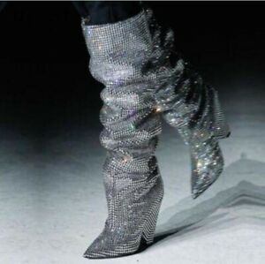 Womens Rhinestone Glitter Leather Pull on Slouch Knee High Boots Party Shoes NEW