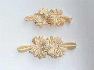 2 BEAUTIFUL SILK FLOWER FROG FASTENERS - LEMON