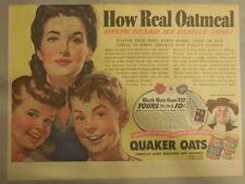 "Quaker Cereal Ad: ""Oats Guard My Family Now!"" 1940's Size: 11 x 15 inches"