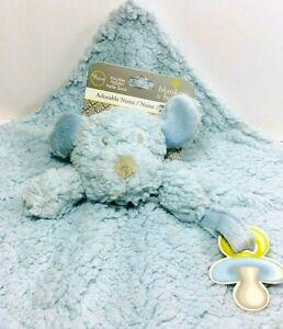 Lovey Baby Blue Blankets And Beyond Sherpa Bear Paci Pacifier Plush Security