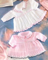 "Vintage  Baby Matinee Coat Lace Pattern 12"" - 20"" DK Knitting Pattern"