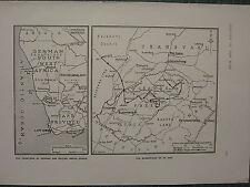 1915 WWI WW1 MAP GERMAN & BRITISH SOUTH AFRICA FRONTIERS ~ WANDERINGS OF DE WET