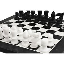 """Marble Stone Chess Pieces & Board Set -Black and White - 12"""" - Minimalist Gift"""