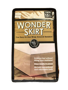 NWT Wonderskirt Wrap Around Twin Tailored Bed Skirt in Taupe Easy Attach