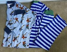 Lot Hanna Andersson Pajamas Boy Size 130 8 Blue White Striped Football Sports