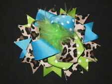"NEW ""BLUE GREEN LEOPARD POOF"" Fur Hairbow Alligator Clips Girls Ribbon Bows 4.5"""