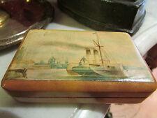 ancienne boite en bois clair a decor de marine port bateau paquebot