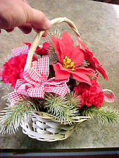 Vintage red Holly and basket Christmas decoration decorations collectible
