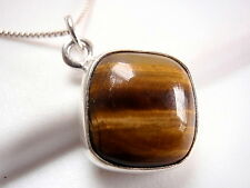 Tiger Eye Square Necklace with Soft Corners 925 Sterling Silver Cushion New