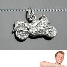 Männer Motorrad Renn Maschine Biker Anhänger mit Kette Echt Silber 925 Neu
