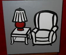 Contemporary Painting On Canvas - Living Room Chair Lamp & Table