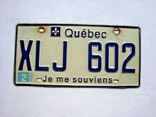 QUEBEC License Plate # XLJ 602