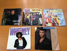 5 Vintage Vinyl Records 45's Gregory Abbott, The Jets, New Edition, Whitney H.