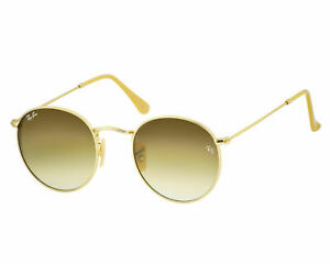 New Ray-Ban Round RB3447 Sunglasses 112/51 Gold Brown Gradient lenses 50mm