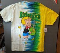 Richie Rich Holding Bag of Money Tie Dye Cotton T-Shirt Size Medium NWT's RARE!